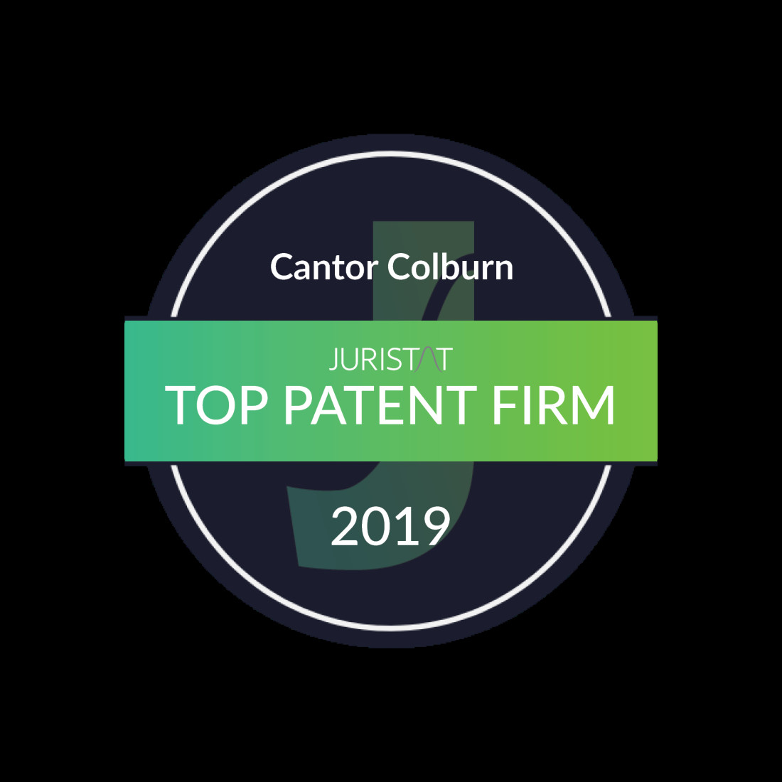 Juristat top patent firm tech centers 2019 badge