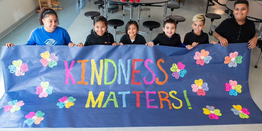 Boys & Girls Club of Hartford, PHOTO kids with Kindness Matters banner